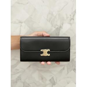 Celine Triomphe Large Flap Wallet - 羊皮黑色 88折