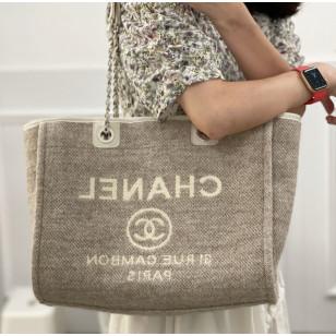 Chanel Mixed Fibers Shopping Bag - 杏白色布袋 A67001 B06387 NE263