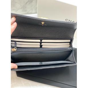 Chanel Le Boy 牛皮長錢夾 - 黑色銀扣