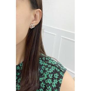 Chanel CC 多閃石雙C耳環 銀色 AB3523 B02595 N6403