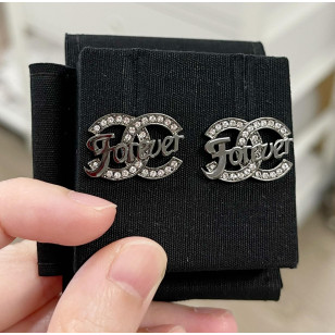 Chanel Ruth Crystal Forever 字母雙C 耳環 銀黑色 AB3624 B054764