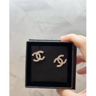 Chanel 雙行閃石雙C耳環 - 銀色 AB4298 B03704 N7887