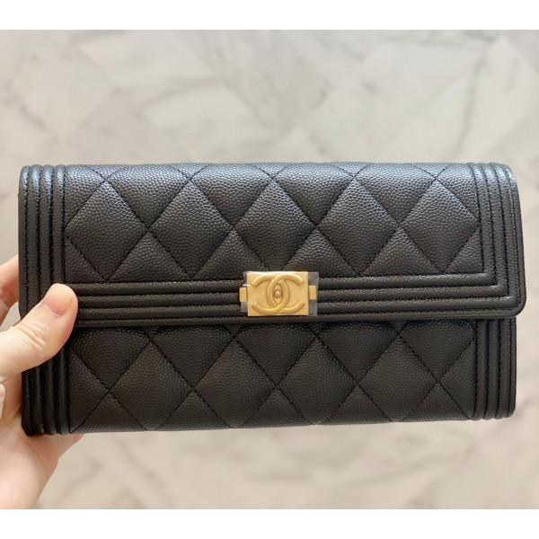Chanel Le Boy 牛皮長錢夾 - 黑色金扣