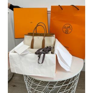Hermes Garden Party 30 Canvas Bag - ECRU-Desert / Gold H066751CKAH