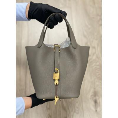 Hermes Tasche Picotin Lock 18 Gris Etain 鍚器灰金扣